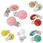 5Pcs New Wood Baby Round Pacifier Clip Metal Holders 3 Hole 4.4cm x 2.9cm