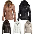 Women's Faux Leather Hooded Jacket Hoodie Short Motorcycle Jacket Coat Sexy M2V0