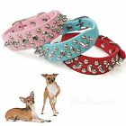 Punk Spiked Pet Dog Collar Round Bullet Nail Rivet Studded Neck Strap PU Leather
