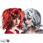 Ladies Gothic Pigtail Ghost Witch Bride Zombie Fancy Dress Costume Wig With Rose