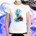 Ladies T-shirt Dragonfly on Rainbow Flower Watercolor Art Sizes XS-2X