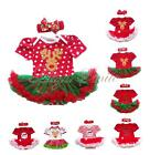 Newborn Girls Baby Romper Christmas Jumpsuit Headband Party Dress Outfit Clothes