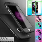 Hybrid 360° Full Body Hard Case + Tempered Glass Cover For Samsung iPhone Models