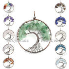 Natural Gems Crystal Tree of Life Life-tree Chip Beads Copper Wire Wrap Pendant