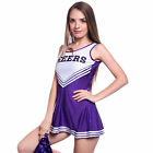 High School Cheering Squad Uniform Glee Cheerleader Purple Fancy Dress 2 Pompoms