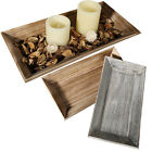 40CM RECTANGLE WOODEN DECORATION TRAY HOME GIFT CANDLE STAND BOWL TEA LIGHT NEW