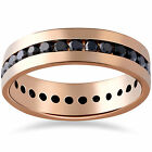1 1/4ct Black Diamond Channel Set Eternity Ring 14K Rose Gold Mens Wedding Band