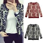 Women Long Sleeve Knitted Cardigan Loose Print Outwear Jacket Coat Sweater W8M6