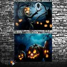 LED Light Up Hanging Canvas Picture Halloween Pumpkin Scene Wall Home Decoration