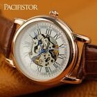 PACIFISTOR Men's Watch Analog Hand-Winding Semi-Automatic Skeleton Black Leather