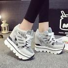 Fashion Sneakers Womens Super High Wedge Heel Athletic Sport Lace Up Shoes Size