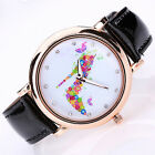 Women's Colorful High Heel Printed Faux Leather Round Dial Wrist Watch Sanwood