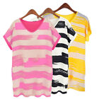 Summer Women Casual Color Stripes Short Sleeve V-Neck Loose Top T-shirt Blouse