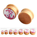 Gauges Solid Wood Morning Glory Wrap Anchor Tunnels Ear Plugs Stretcher Expander