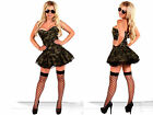 Green Soldier Size S- 6XL CORSET+ Mini Skirt Camouflage Uniform  Party Costume