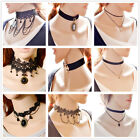 Black Gothic Lace Retro Choker Collar Lace Flower Pendant chain Necklace Jewelry
