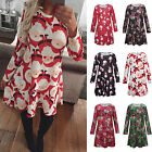 New Women Long Sleeve Reindeer Printed Crew Neck Party Cocktail Short Mini Dress