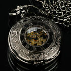 PACIFISTOR Skeleton Pocket Watch Mechanical Movement Hand Wind Full Hunter PX012