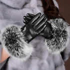 Deluxe Black Women's 360° Smart Touch Screen Gloves Genuine Leather Fox Fur New