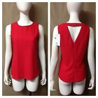 NWT Stretch RED SLEEVELESS TOP Open Back SHIRT size S M Polyester Textured $50