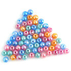 50pcs Mixed Color Round Crack Design Smooth Plastic Loose Spacer Charms Beads D