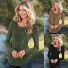 Fashion Womens Long Sleeve V Neck Casual Lace Blouse Tops T Shirt Slim CA