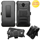 For Alcatel OneTouch Allura Hybrid Combo Holster KICKSTAND Rubber Case Cover