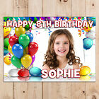Personalised Girls Boys Balloons Happy Birthday PHOTO Poster Banner N80 ANY AGE