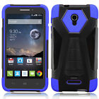 For Alcatel Fierce 4 Turbo Layer HYBRID KICKSTAND Rubber Case Phone Cover