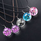 New Handmade Crystal Glass Ball Dried Flower Necklace Leather Chain Pendant
