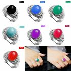 Women Lady Multicolor Pattern Carving Crystal Ring Jewelry US Size 6/7/8/9