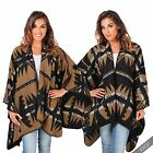 Oversize Aztec Poncho Blanket Kimono Wrap Winter Cape Scarf Shawl Warm Winter