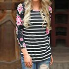Womens Floral Long Sleeve Casual Stripe Tops Jumper Crew Neck Blouse T-shirts