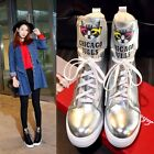 Women Round Toe Wedge Hidden Heel Platform Winter Warm Ankle Boots Lace Up Shoes
