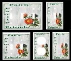 FAITH FAMILY FRIENDS  FLORAL GREEN SHADES   LIGHT SWITCH COVER PLATE