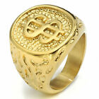 Mens Boys 18K Gold Plated $ Money Cash Sign Band Stainless Steel Ring Size 8-14