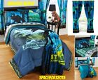JURASSIC WORLD Dinosaur Park COMFORTER+SHEETS+CURTAIN SET Bed in a Bag Twin Full