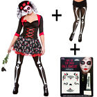 Adult Ladies Halloween Day Of The Dead Darling Fancy Dress Costume + Tights New