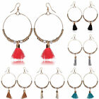 Women's Ladies Girl Gold Plated Tassel Beads Hook Dangle Design Gift Earrings