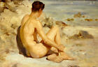 Boy on a Beach, 1912, by Henry Scott Tuke (Classic Cornwall Victorian Art Print)