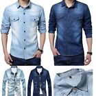 Mens Jeans Tops Casual Slim Fit Stylish Wash Vintage Style Denim Shirts Dress
