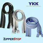 "14"" to 48"" #5 Aluminum Separating Jacket Zipper YKK ~ ZipperStop - White"
