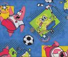 "Fabric 18""  x  44"" SpongeBob & Patrick Soccer Champions on Blue"