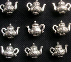 8 Teapot Charms Silver Tone Metal Alice in Wonderland 15mm