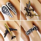 #R291T Women Mens Retro Ring Crystal Airplane, Fairy Angel, Wings, or Music Note