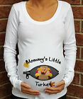 ZIPPER MOMMY'S LITTLE TURKE THANKSGIVING MATERNITY SHIRT PREGNANCY T-SHIRT