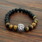New Fashion Men's Spot Natural Lava Stone Silver Buddha Beaded Charm Bracelet