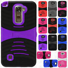 For LG Rebel 4G LTE L44VL Hard Gel Rubber KICKSTAND Case Phone Cover Accessory