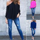 Women Halter Off-shoulder Long Sleeve Top Blouse T-shirt Summer Shirt Tops TB