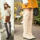 Snow Boots Womens Hidden Heel Pull On Winter Warm Fur Lining Over The Knee Boots